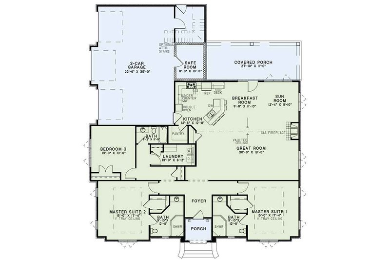 European Floor Plan - Main Floor Plan Plan #17-3388