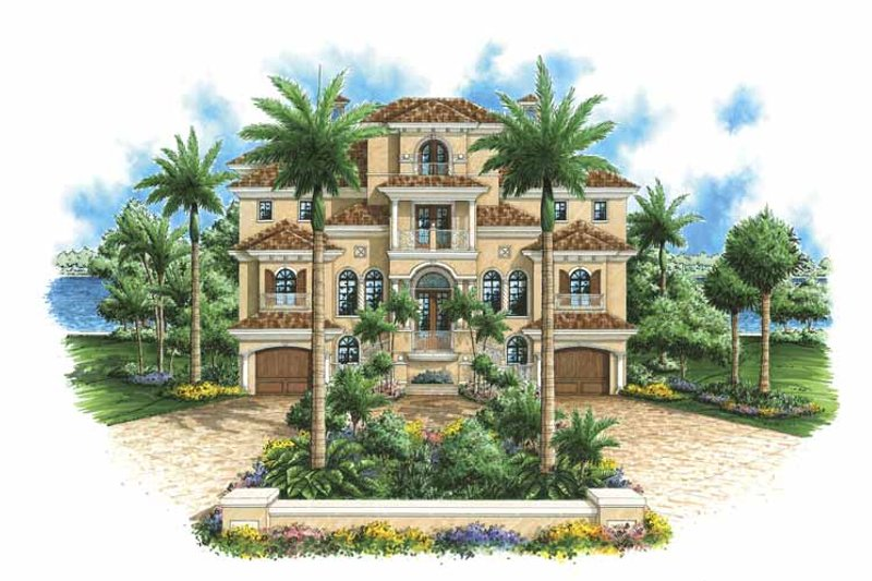 Mediterranean Exterior - Front Elevation Plan #1017-98