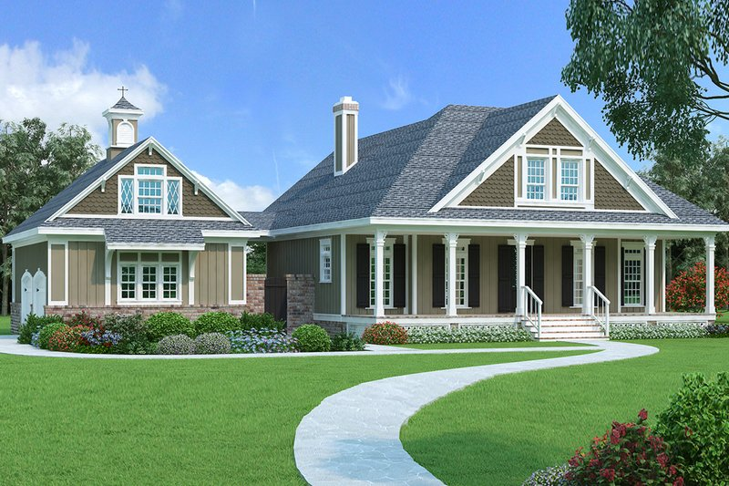 Southern Style House Plan - 3 Beds 2.5 Baths 1755 Sq/Ft Plan #45-571 Exterior - Front Elevation