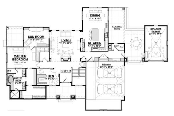 Craftsman Floor Plan - Main Floor Plan #928-266