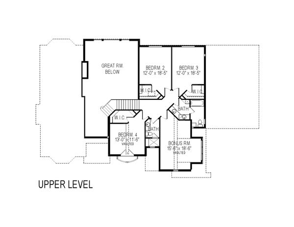European Floor Plan - Upper Floor Plan Plan #920-30