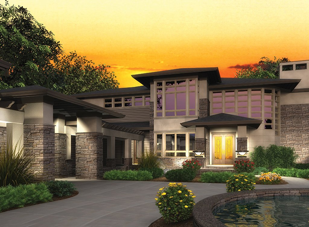 Prairie style house plan 4 beds 4 5 baths 4750 sq ft for Prairie style house plans luxury