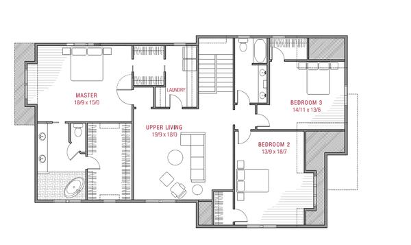 Tudor Floor Plan - Upper Floor Plan #1079-3