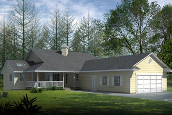 Ranch Exterior - Front Elevation Plan #100-428