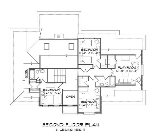 Traditional Floor Plan - Upper Floor Plan #1054-71