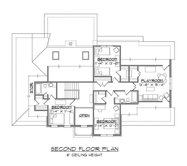 Traditional Floor Plan - Upper Floor Plan Plan #1054-71