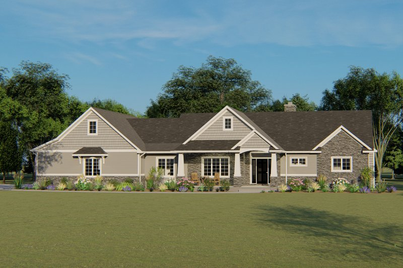 Ranch Style House Plan - 1 Beds 1.5 Baths 1737 Sq/Ft Plan #1064-31 Exterior - Front Elevation