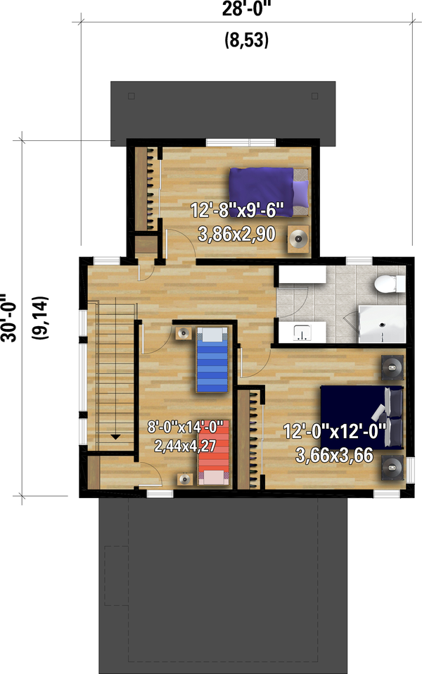 House Plan Design - Contemporary Floor Plan - Upper Floor Plan #25-4931