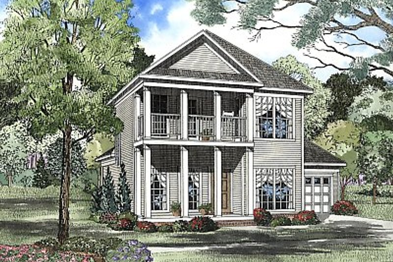Southern Style House Plan - 3 Beds 2.5 Baths 1651 Sq/Ft Plan #17-2054 Exterior - Front Elevation