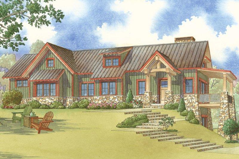 Dream House Plan - Craftsman Exterior - Front Elevation Plan #17-3399