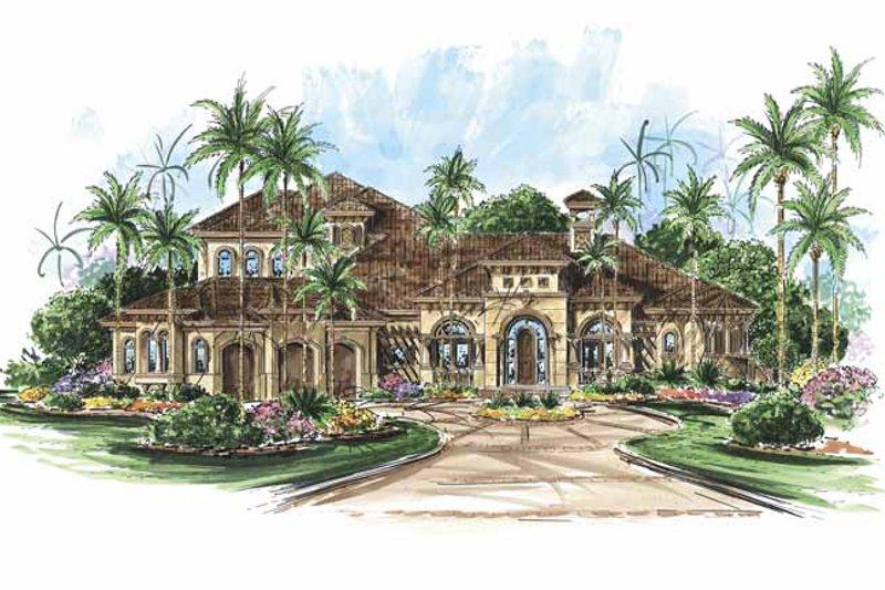 Architectural House Design - Mediterranean Exterior - Front Elevation Plan #1017-65
