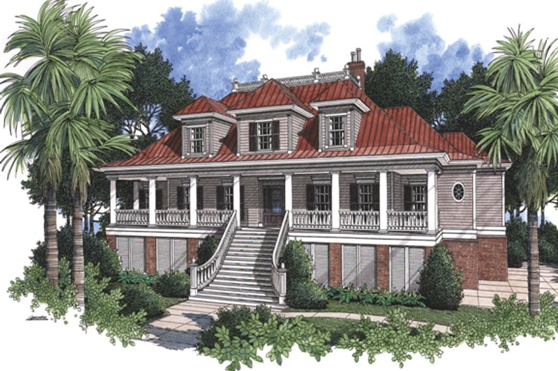 Country Exterior - Front Elevation Plan #37-267