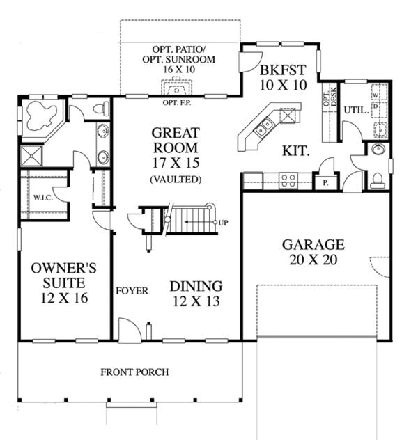 Traditional Floor Plan - Main Floor Plan Plan #1053-42