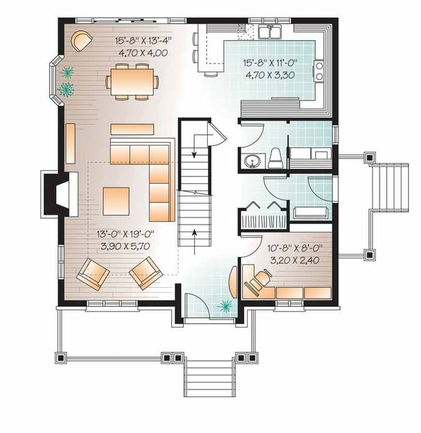 European Floor Plan - Main Floor Plan Plan #23-2547