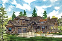 Cabin Exterior - Front Elevation Plan #942-36
