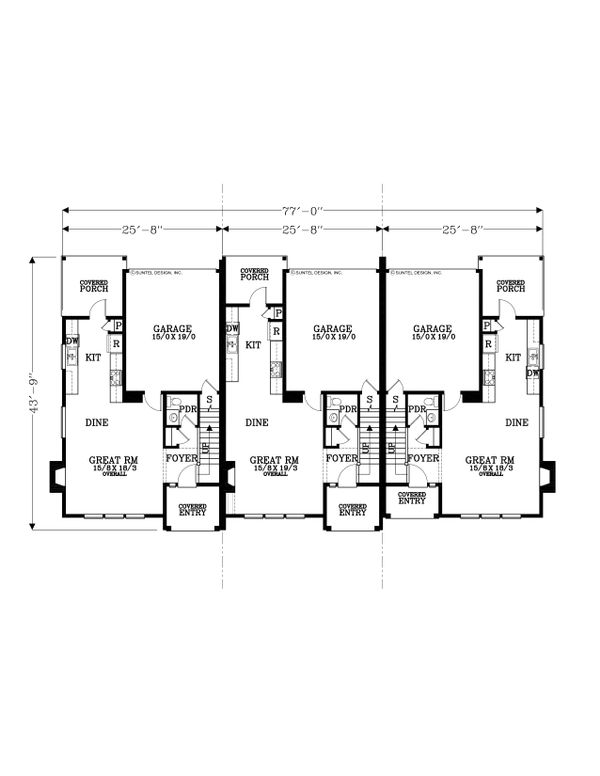 Craftsman Floor Plan - Main Floor Plan Plan #53-534