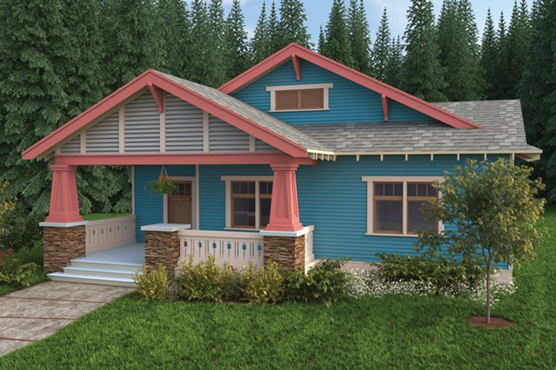 Architectural House Design - Craftsman Exterior - Front Elevation Plan #895-63