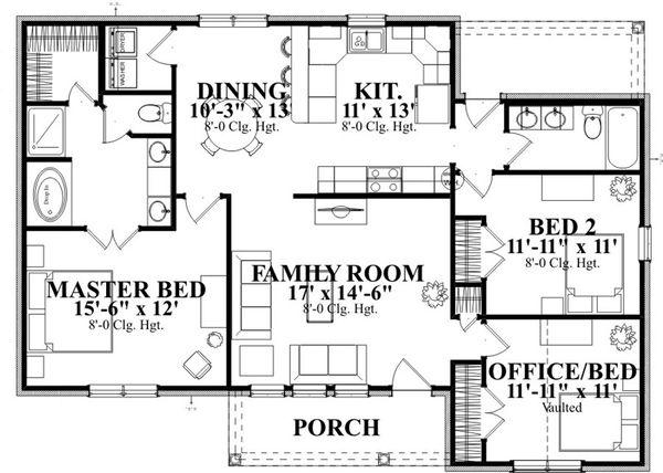 Traditional Floor Plan - Main Floor Plan Plan #63-313