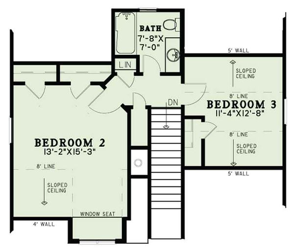 Country Floor Plan - Upper Floor Plan Plan #17-3406