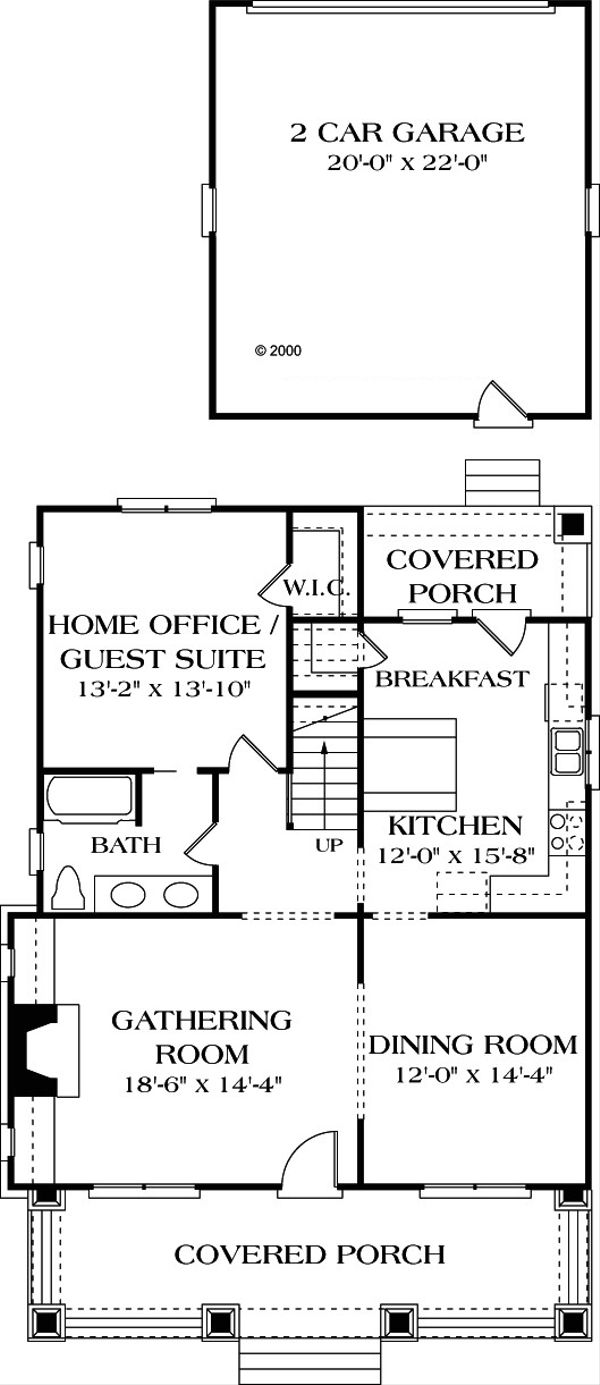 Craftsman Floor Plan - Main Floor Plan Plan #453-3