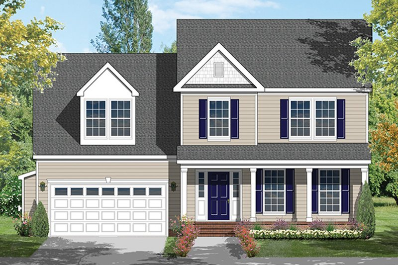 Architectural House Design - Colonial Exterior - Front Elevation Plan #1053-67