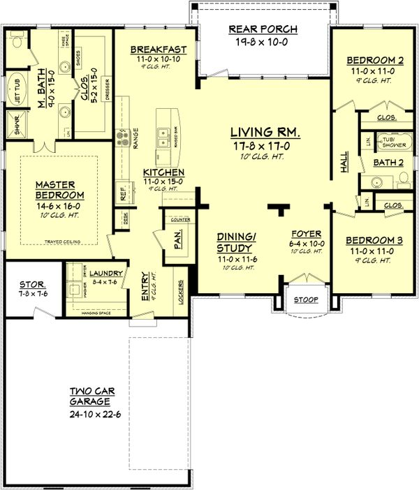European Floor Plan - Main Floor Plan Plan #430-90