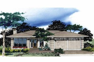 Architectural House Design - Prairie Exterior - Front Elevation Plan #509-121