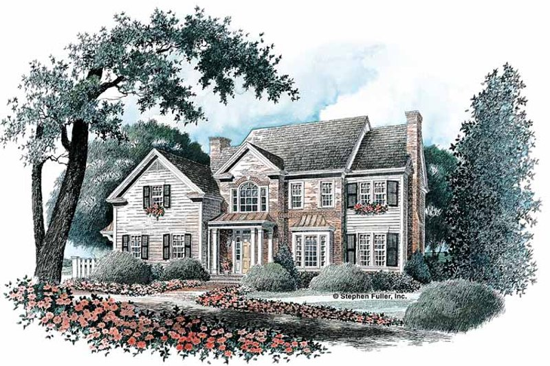 Colonial Exterior - Front Elevation Plan #429-90