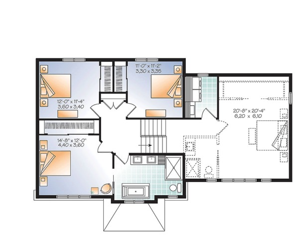 Traditional Floor Plan - Upper Floor Plan Plan #23-2626