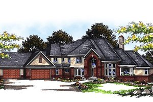 European Exterior - Front Elevation Plan #70-558