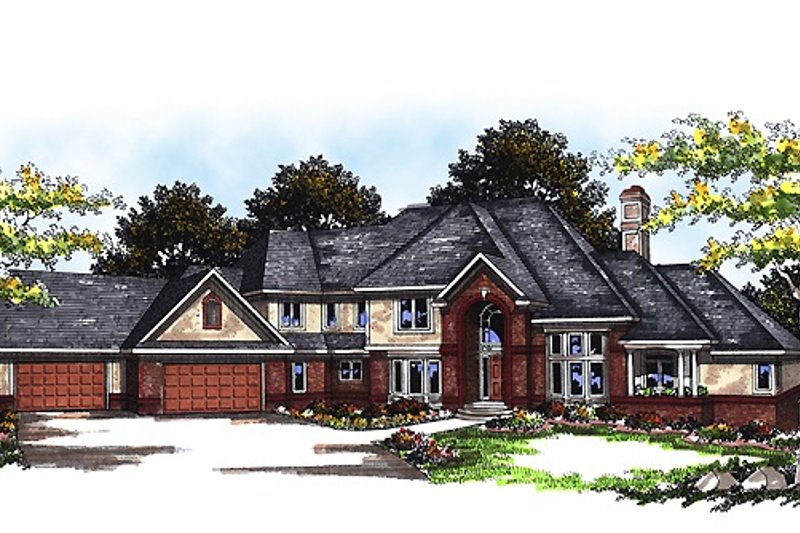 European Style House Plan - 4 Beds 4.5 Baths 5161 Sq/Ft Plan #70-558 Exterior - Front Elevation