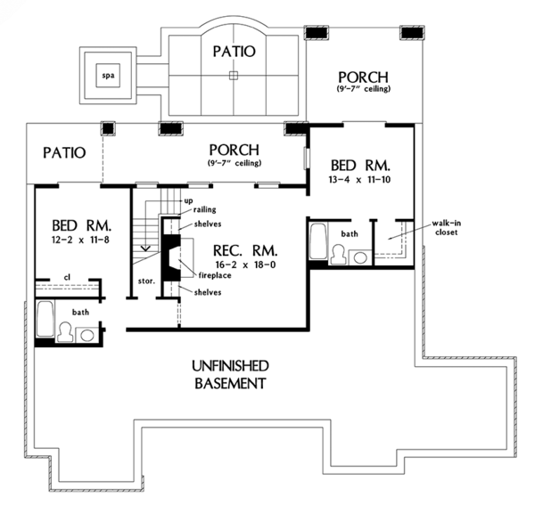 Craftsman Floor Plan - Lower Floor Plan Plan #929-982