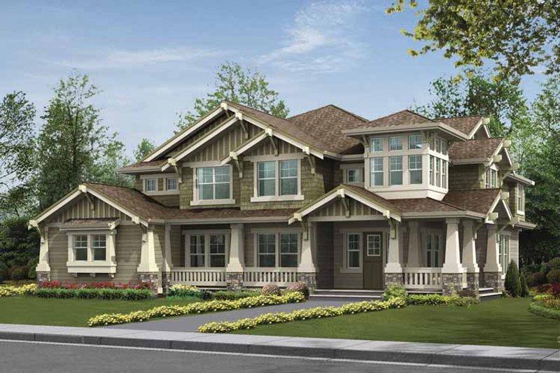 Architectural House Design - Craftsman Exterior - Front Elevation Plan #132-495