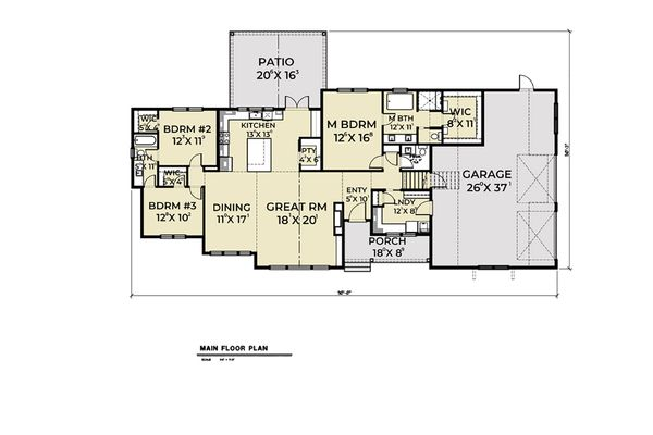 Farmhouse Floor Plan - Main Floor Plan Plan #1070-31