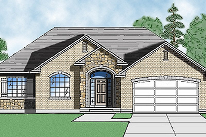Traditional Style House Plan - 3 Beds 2.5 Baths 1612 Sq/Ft Plan #5-113 Exterior - Front Elevation
