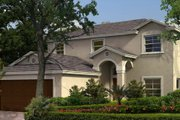 Mediterranean Style House Plan - 3 Beds 2.5 Baths 1515 Sq/Ft Plan #420-222 Exterior - Front Elevation