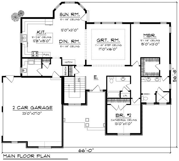 Ranch Floor Plan - Main Floor Plan Plan #70-1166
