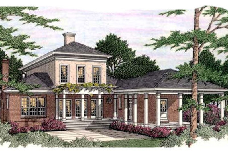 Southern Exterior - Rear Elevation Plan #406-297 - Houseplans.com