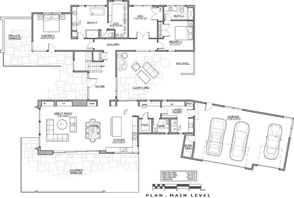 Contemporary Floor Plan - Main Floor Plan Plan #892-23