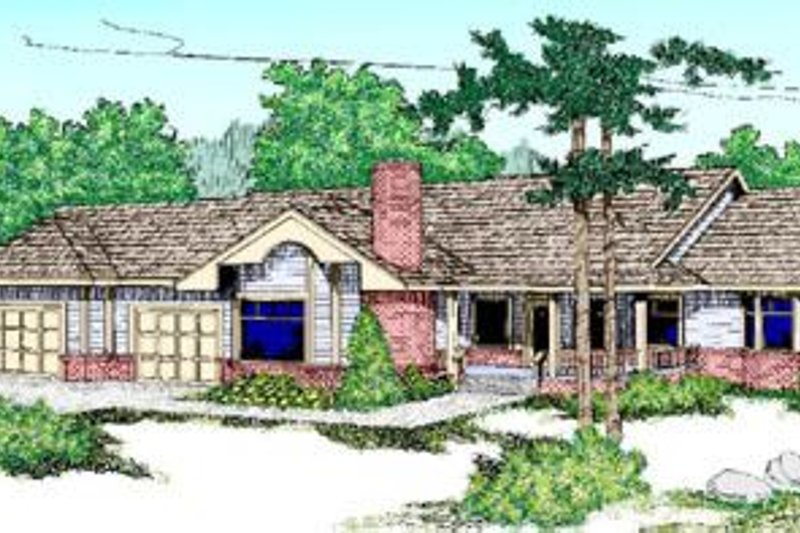 Ranch Style House Plan - 4 Beds 2 Baths 2710 Sq/Ft Plan #60-217 Exterior - Front Elevation