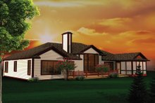 Dream House Plan - Ranch Exterior - Rear Elevation Plan #70-1103