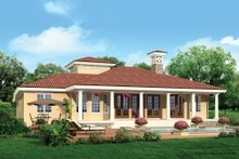 House Design - Mediterranean Exterior - Rear Elevation Plan #930-12