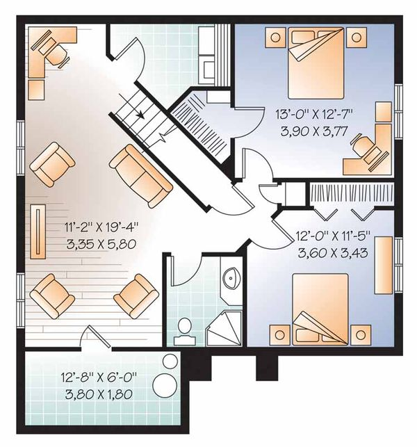 European Floor Plan - Lower Floor Plan Plan #23-2501