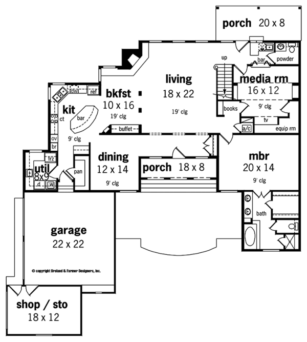 Country Floor Plan - Main Floor Plan Plan #45-449