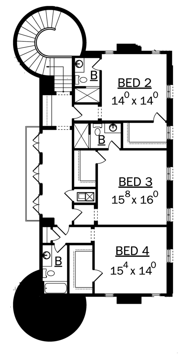 Mediterranean Floor Plan - Upper Floor Plan Plan #1058-11