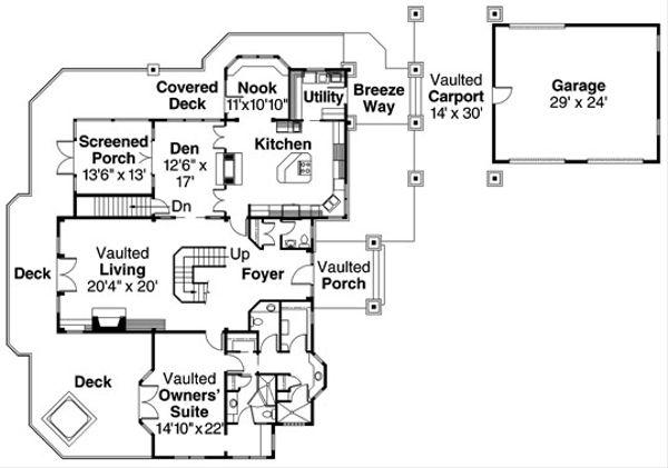 European Floor Plan - Main Floor Plan Plan #124-586