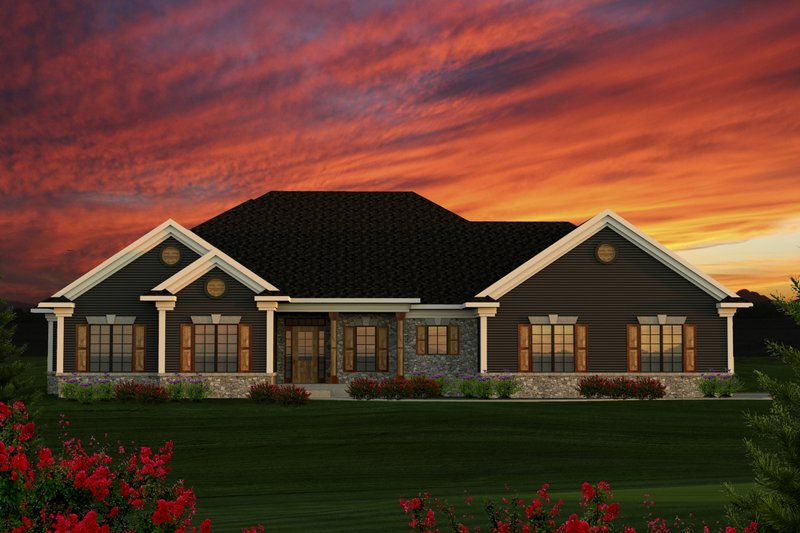 Ranch Style House Plan - 3 Beds 2.5 Baths 1807 Sq/Ft Plan #70-1191 Exterior - Front Elevation