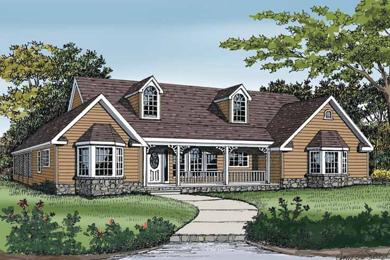 Country Exterior - Front Elevation Plan #314-221