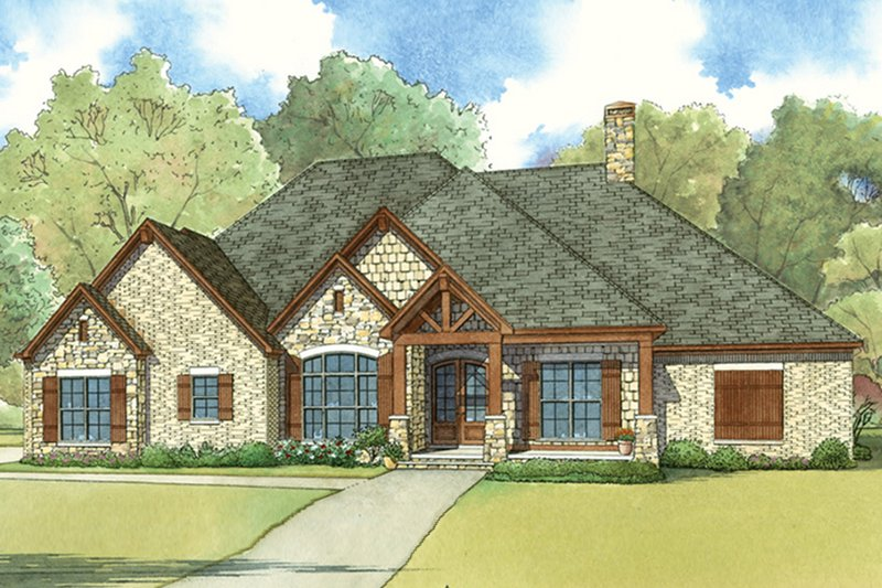 European Style House Plan - 4 Beds 3 Baths 2676 Sq/Ft Plan #17-3411 Exterior - Front Elevation