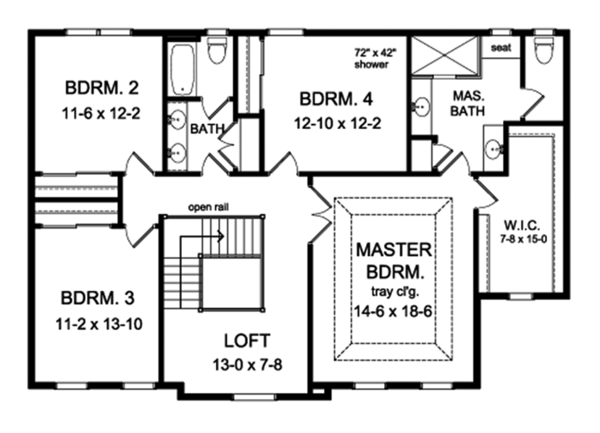 Colonial Floor Plan - Upper Floor Plan Plan #1010-196